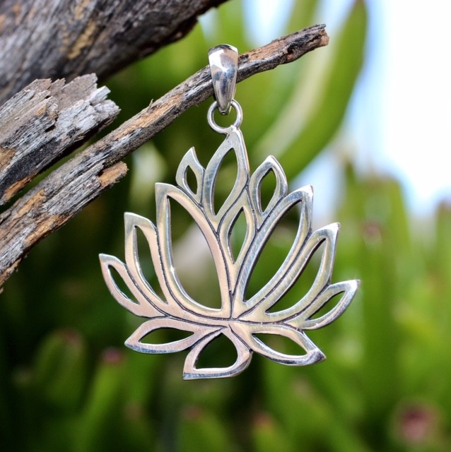 Lotus silver pendant