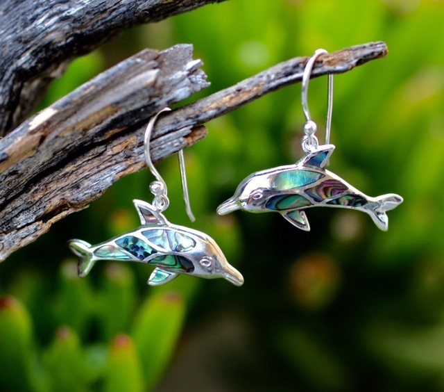 Abalone dolphin earrings