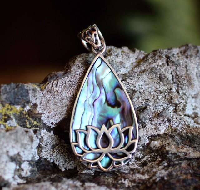 Abalone lotus pendant