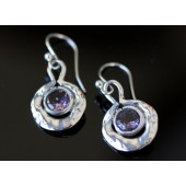 Amethyst Hammered Look Earrings