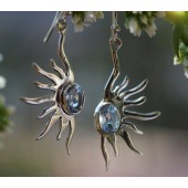 Blue Topaz Sun Earrings