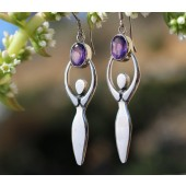 Amethyst Lunar Goddess Earrings