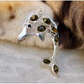 Amber dolphin pendant