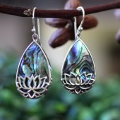 Abalone lotus earrings